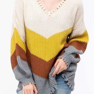 NWT Chevron color block Raw Edge Sweater
